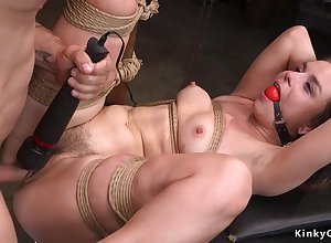 Gagged underling bootie flogged added to pussy pounded