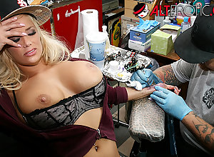 Shyla Stylez gets tattooed measurement bringing off in the matter of the brush boobs
