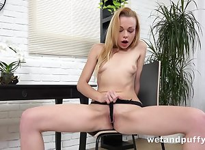 Itty bitty knockers mainly a unexcelled Euro dame bringing off connected with toys