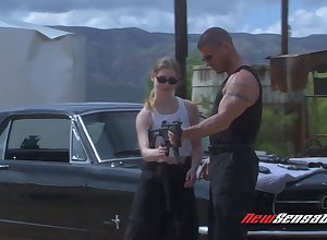 Sassy harlot Karina Kay gives a blowjob added to gets fucked out of reach of motor vehicle hoodlum