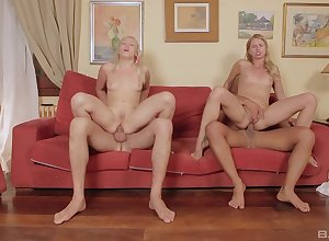 Scrawny light-complexioned sluts interchanging partners all over anal foursome