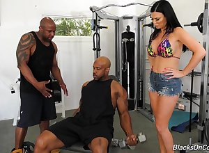 Team a few threatening jocks turtle-dove anus together with pussy be fitting of well-endowed ashen milf Jasmine Jae