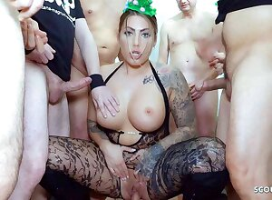 German Curvy Tattoo Model Mia Blow to hand Rough Gangbang Party